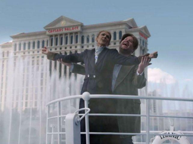Celine Dion y James Corden recrean Titanic con aguas danzantes