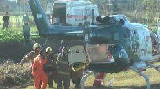 Así se asistió en helicóptero a una mujer accidentada