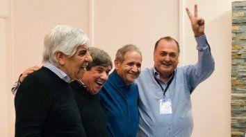 Oradores. Hugo Moyano, Rubén García, Sergio Palazzo y Antonio Ratner, en el congreso de Mar del Plata.