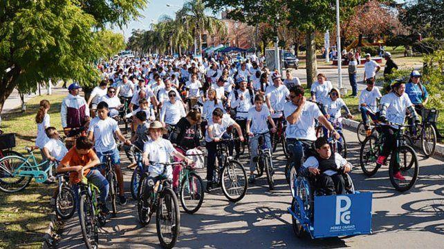 Bicicleteada. Más de 500 inscriptos participaron de la actividad en Pérez.