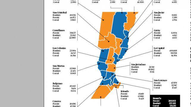 El mapa de la provincia, por votos.