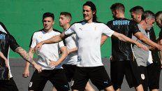 La celeste, preparada. Cavani, socio de Suárez, en el último entrenamiento del equipo.