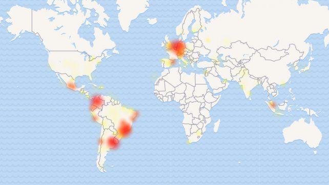 El mapa que muestra las zonas donde hubo fallas en WhatsApp.