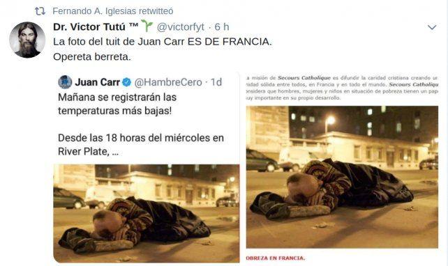 Es falsa la acusación a Juan Carr por la foto de un indigente