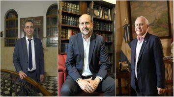 Electos. Pablo Javkin, Omar Perotti y Miguel Lifschitz