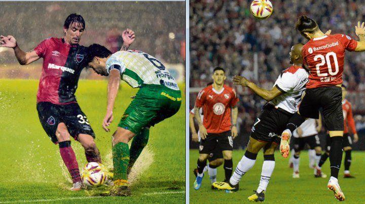 La maneja Formica. El Gato quiere eludir a su marcador en el partido ante Defensa.Arriba Leal. La Pantera disputa una pelota aérea frente a Independiente.