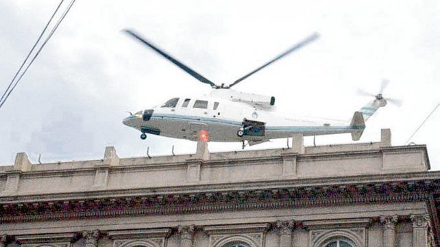El helicóptero. El momento en que De la Rúa dejó la Casa Rosada.