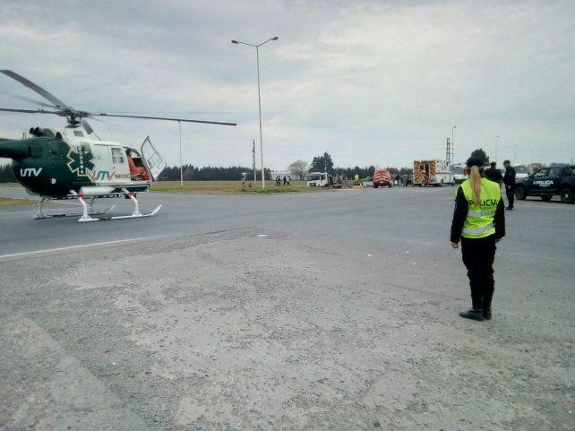 El video del rescate en helicóptero tras el choque en la ruta 14 y la AO12
