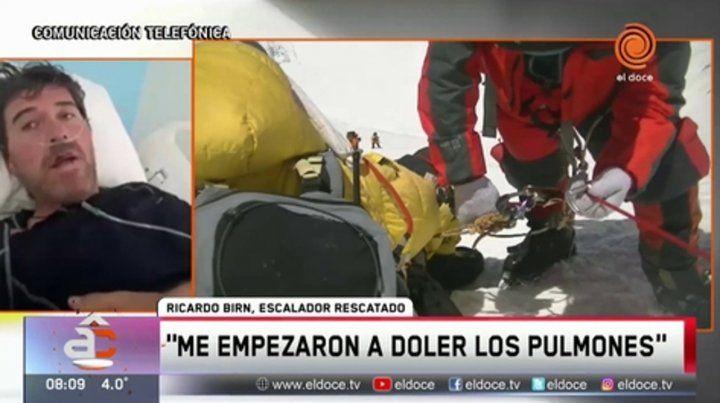 socorro. Birn fue transportado en helicóptero de la montaña e internado.