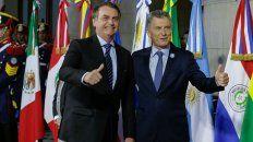 Bolsonaro, presidente de Brasil, y Macri durante la Cumbre del Mercosur.