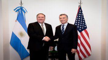 Amigo americano. Mike Pompeo y Mauricio Macri, ayer en una reunión en la Quinta de Olivos.