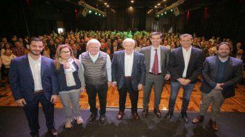 Roberto Lavagna, Juan Manuel Urtubey y Miguel Lifschitz, en un acto de Consenso Federal en la localidad de Pilar.