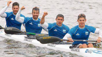La remaron. El bote ganador con los apellidos de Carreras, Di Giácomo, Cáceres y Lascano.