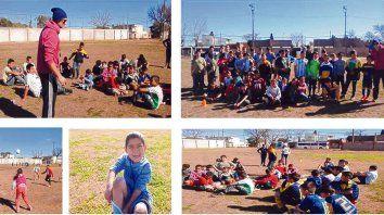 Postales. Todos los meses se organizan torneos de fútbol familiares. Días atrás, nenes y nenas jugaron un partido de fútbol mixto en la cancha de Coronel Aguirre.