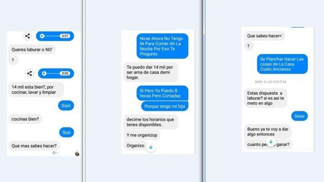 La oferta.  La charla por el chat de Facebook, donde el hombre le propone a la chica trabajar.