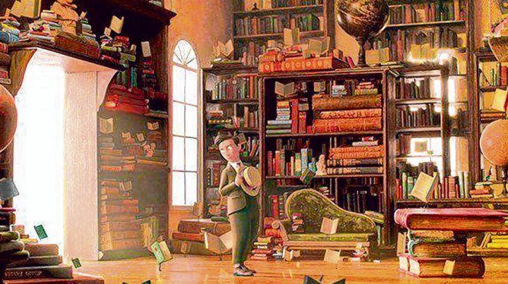 El joven Morris Lessmore encuentra en ese cuarto rodeado de libros decenas de historias dispuestas a ser leídas.