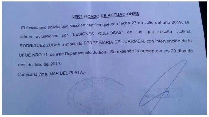 La denuncia fue radicada en la Comisaría 7ª de Mar del Plata.
