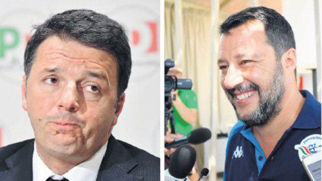 De frente. Matteo Renzi descalificó sin medias tintas al liguista Salvini y pronosticó que perderá el poder.