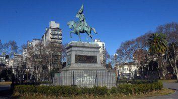 La Plaza San Martín, en el centro de Rosario.
