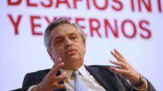 El candidato del Frente de Todos, Alberto Fernández, habló hoy en el Malba, en Buenos Aires.