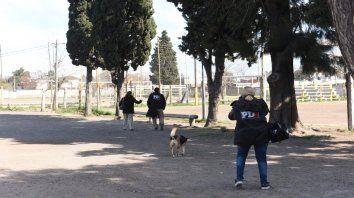 búsqueda de rastros. Agentes de la Policía de Investigaciones estuvieron esta semana en la cancha de Pablo VI, donde fue herido Benjamín.