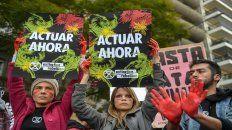Reclamo. Los ambientalistas argentinos ante la embajada brasileña.
