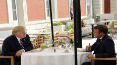 El almuerzo a solas entre Emmanuel Macron y Trump ayer en Biarritz, sede del G-7.