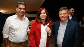 Cristina Fernández de Kirchner, junto a Capitanich y Peppo, en una visita a Chaco.