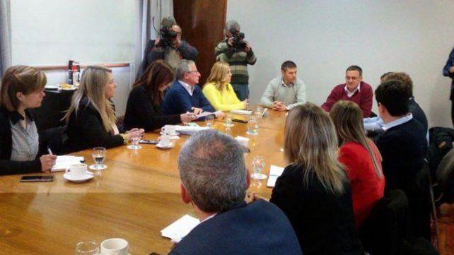 Los presidentes de bloque que integran el Concejo Municipal participaron de la reunión que se realizó hoy en la Municipalidad.