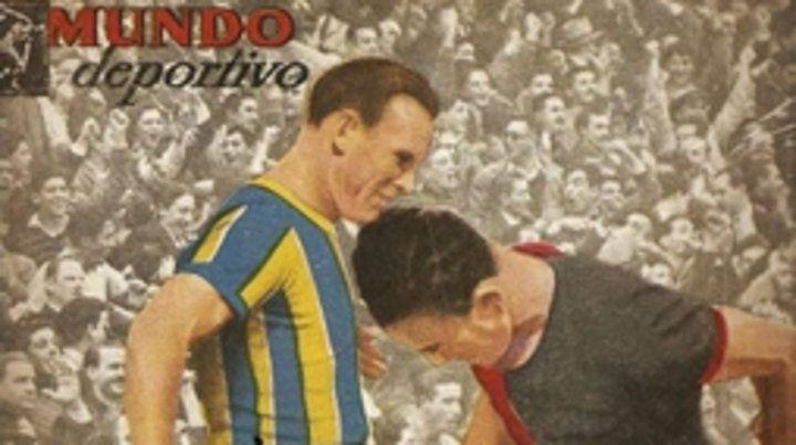 Revista Mundo Deportivo. El clásico también se jugaba en la tapa de esta publicación que competía con El Gráfico. En la imagen: Fogel (RC) y Mardizza (NOB).