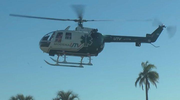 Trasladaron en helicóptero a un nene que cayó en una pileta en Aldao