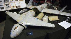 Un dron iraní usado por los rebeldes de Yemen en su guerra con Arabia.