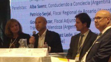 Disertante. El fiscal regional Patricio Serjal, en el Foro de Justicia Vial.