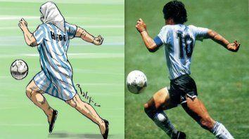 Igualita. El dibujo de Hebe se inspiró en una imagen de Diego y en una frase de Víctor Hugo Morales.
