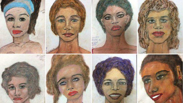 Retratos. El FBI difundió 90 dibujos de sus víctimas