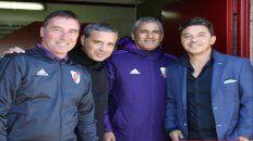 Grupo de trabajo. Juanjo Borrelli, Gustavo Grossi, Hernán Díaz y Marcelo Gallardo durante una jornada en inferiores.