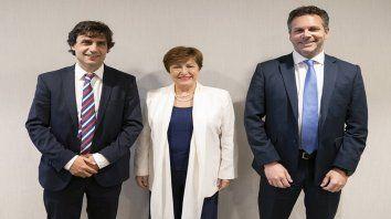 El ministro de Hacienda y el presidente del BCRA franquean a Kristalina Georgieva. nueva jefa del FMI.
