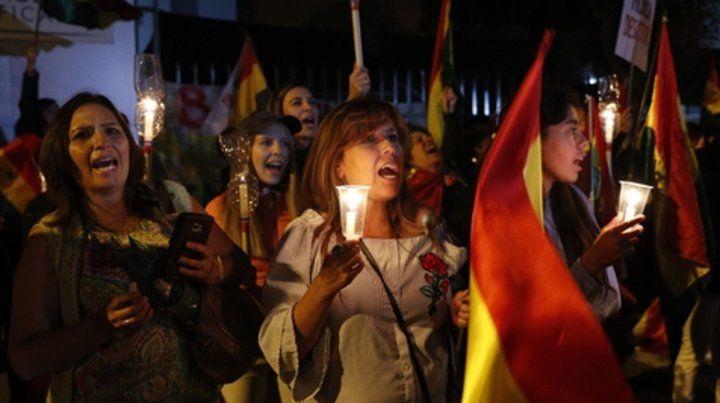 bronca. Una de las muchas protestas ciudadanas contra la reelección de Morales en La Paz.