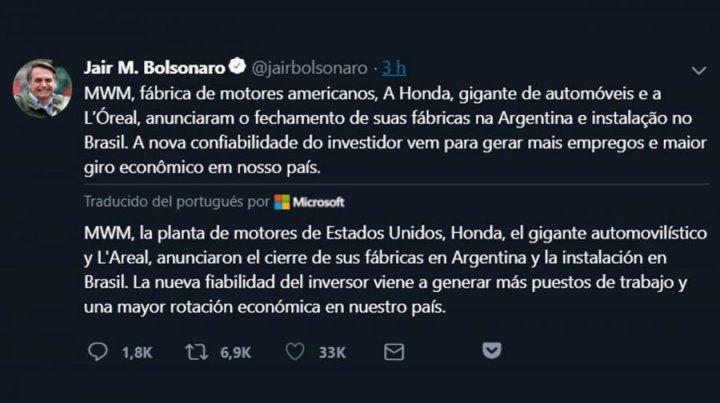 El tuit de Bolsonaro anunciando el cierre de tres plantas en la Argentina