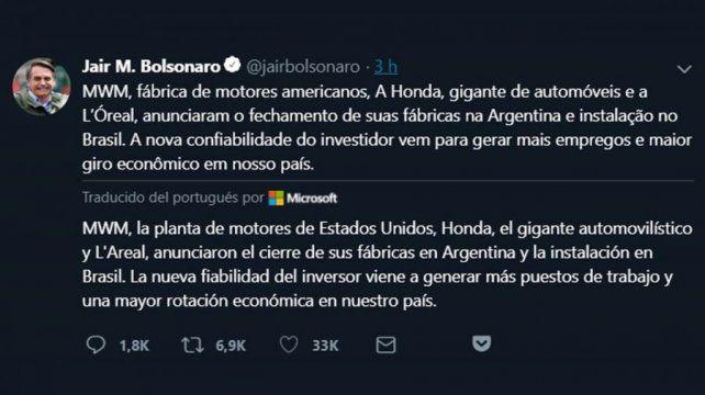 El tuit de Bolsonaro anunciando el cierre de tres plantas en la Argentina, que luego borró.