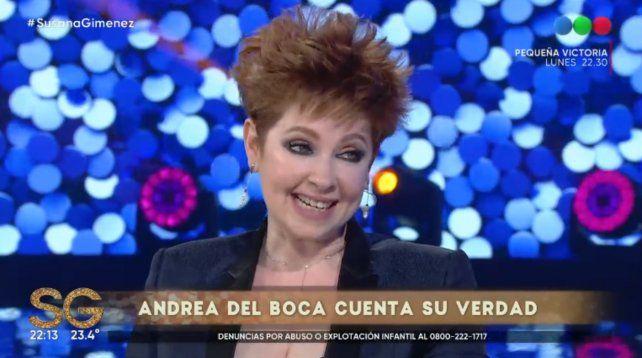 La actriz Andrea del Boca anoche en el programa de Susana Giménez.