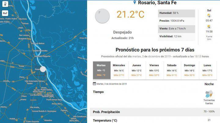 Se renovó el alerta por tormentas fuertes para Rosario y el sur provincial