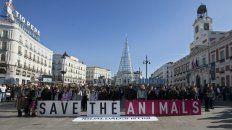 Puerta del sol. Lugar donde marcharon ayer defensores de animales.