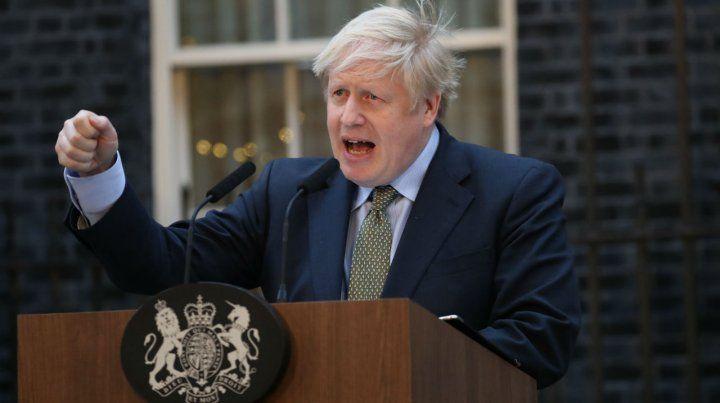 Gané. Johnson da su discurso de la victoria en el 10 de Downing Street.