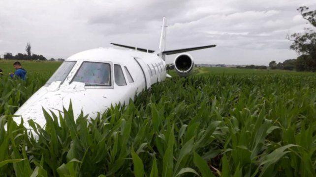 El avión pudo aterrizar sobre unos pastizales.