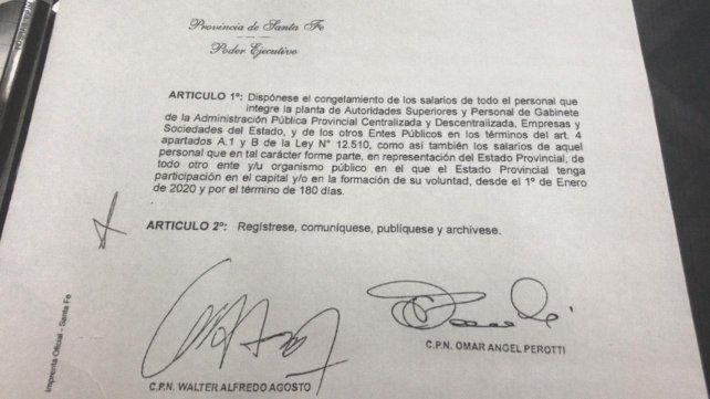 Perotti dispuso congelar su salario y el de todo su gabinete por 180 días
