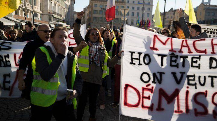 Descontento. Ayer hubo marchas en Marsella y otras ciudades.
