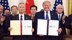 tregua. El 15 de enero Trump y y el vicepremier chino Liu He firmaron una paz comercial.