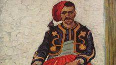 Inconfundible. La pintura representa a un soldado de infantería con la conocida técnica de Van Gogh.
