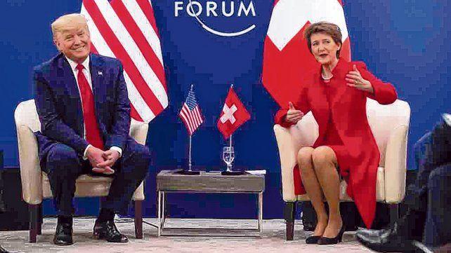 evento. Trump en su encuentro ayer con la presidenta del Consejo Federal suizo